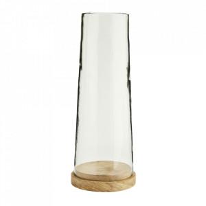 Suport maro/transparent din lemn de mango si sticla pentru lumanare 38 cm Shinan Madam Stoltz