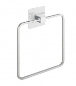 Suport pentru prosoape argintiu din inox si plastic ABS 16,5 cm Quadro Turbo-Loc Wenko