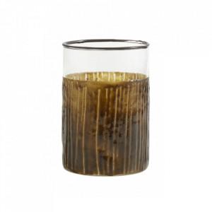Suport transparent/maro din sticla pentru lumanare 10 cm Tom Nordal