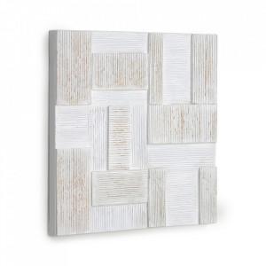 Tablou alb din canvas si lemn de pin 50x50 cm Alvida Kave Home