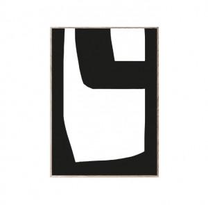Tablou cu rama din lemn de stejar Bold Lines 02 Paper Collective