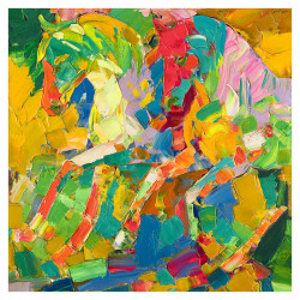 Tablou multicolor din canvas si lemn 100x100 cm Allesis Ter Halle