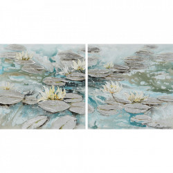 Tablou multicolor din canvas si lemn 70x140 cm Waterlily Ter Halle