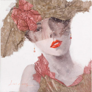 Tablou multicolor din canvas si lemn 90x90 cm Ava Ter Halle
