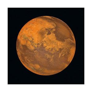 Tablou portocaliu/negru din sticla 80x80 cm Mars Signal Meble