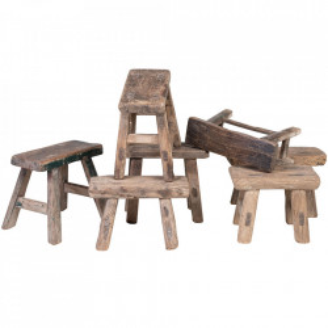 Taburet dreptunghiular maro din lemn 12x28 cm Children Fun Versmissen