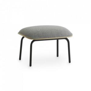 Taburet pentru picioare dreptunghiular negru/gri din textil si otel 45x60 cm Pad Normann Copenhagen