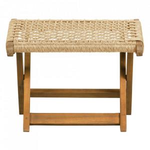 Taburet pentru picioare maro din lemn de eucalipt si polietilena 44x45 cm Lois Woood