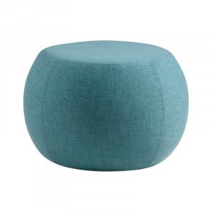 Taburet rotund albastru din lemn si textil 55 cm Luka Blue Somcasa