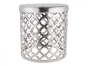 Taburet rotund argintiu din aluminiu 46 cm Kita Big Richmond Interiors