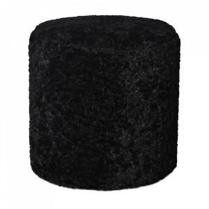 Taburet rotund negru din poliester si lemn 35 cm Gabriel Opjet Paris