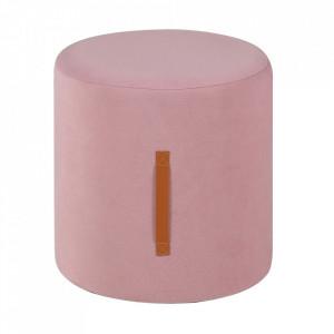 Taburet rotund roz din MDF si poliester 35 cm Piloo Zago