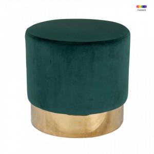 Taburet rotund verde din catifea si inox 42 cm Lilou Green Richmond Interiors