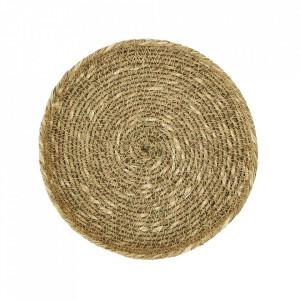 Tava decorativa rotunda maro din iarba de mare si bumbac 15 cm Corbeny Madam Stoltz