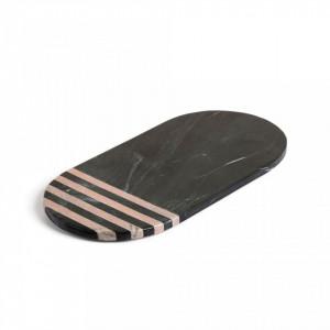 Tocator negru oval din marmura 35,5x17,5 cm Bergman La Forma