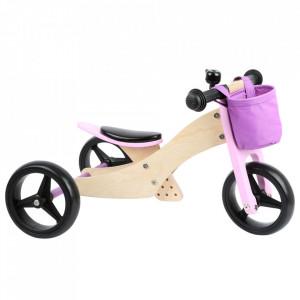 Tricicleta fara pedale din lemn si metal Tricke Pink Small Foot