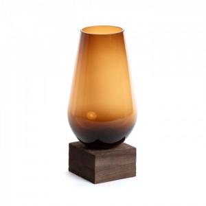 Vaza maro din sticla cu suport lemn 30 cm Ademia Large La Forma