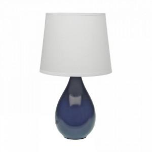 Veioza albastra/alba din ceramica si textil 35 cm Versa Home