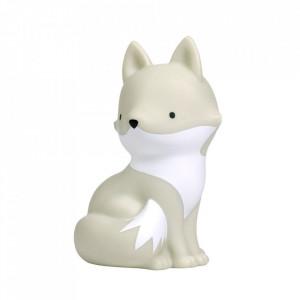Veioza gri/alba din PVC cu LED 15 cm Arctic Fox A Little Lovely Company