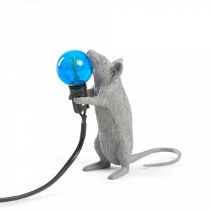 Veioza gri din rasina 14,5 cm Mouse Step Seletti