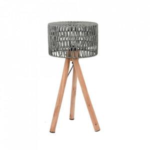 Veioza gri/maro din bumbac si lemn 69 cm Stripe LABEL51