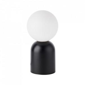 Veioza neagra din sticla si metal 30 cm Yance Brilliant