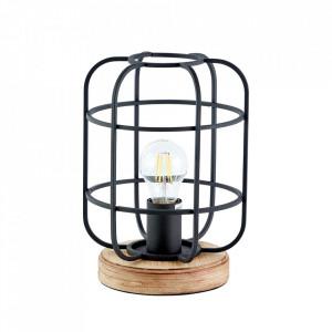 Veioza neagra/maro din lemn si metal 26 cm Gwen Brilliant