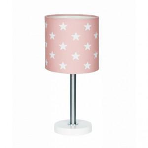Veioza roz din textil si inox 35 cm Stars Livone