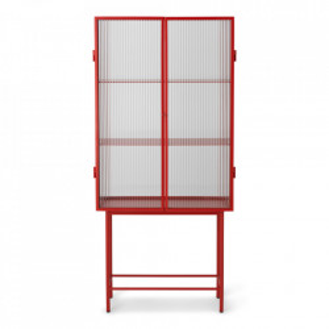 Vitrina din sticla si metal 155 cm Haze Reeded Red Ferm Living