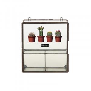 Vitrina pentru perete transparenta din sticla si fier 28 cm Keiki LifeStyle Home Collection