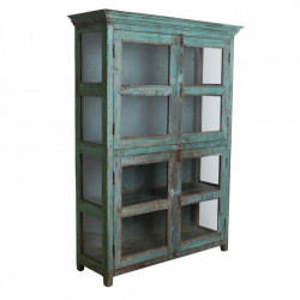 Vitrina verde/albastra din lemn si sticla 184 cm Baitadi Raw Materials