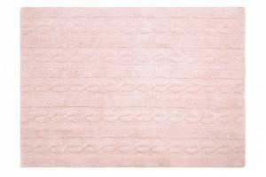 Covor dreptunghiular roz din bumbac 120x160 cm Braids Soft Pink Medium Lorena Canals