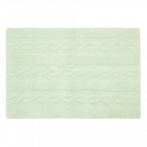 Covor dreptunghiular verde menta din bumbac 80x120 cm Braids Soft Mint Small Lorena Canals