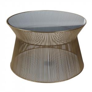Masuta cafea aurie din metal si sticla 66 cm Victoria Zago