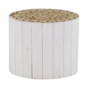 Masuta alba pentru cafea din lemn de tec 70 cm Refuge Zago