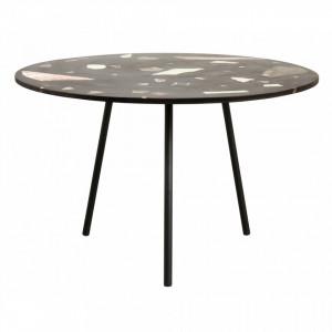 Masa dining rotunda din metal si terrazzo Colour Nordal
