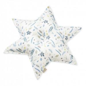 Perna decorativa multicolora pentru copii din bumbac 48 cm Abi Pressed Leaves Blue Cam Cam