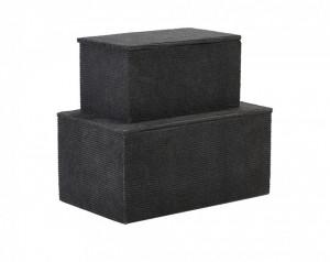 Set 2 cutii albastre din carton cu capac Corduroy Blue House Doctor