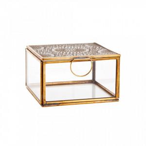 Cutie pentru bijuterii din fier si sticla Alec Bitt Brass Madam Stoltz
