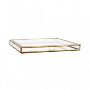 Cutie pentru bijuterii din fier si sticla Esteban Large Brass Madam Stoltz