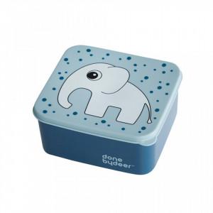Cutie cu capac albastra din polietilena si polipropilena pentru copii 14x15,5 cm Blue Elphee Done by Deer