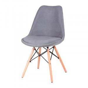 Scaun gri din lemn si textil Lindy Grey Somcasa
