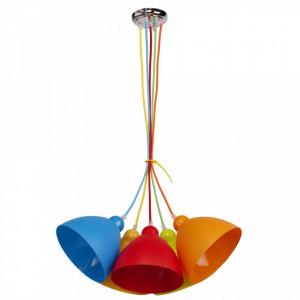 Lustra multicolora din metal si plastic cu 5 becuri pentru copii MW-Light Kinder MW Glasberg