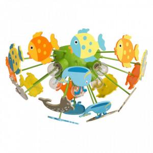 Plafoniera multicolora din metal si plastic cu 5 becuri pentru copii Kinder Smile MW Glasberg