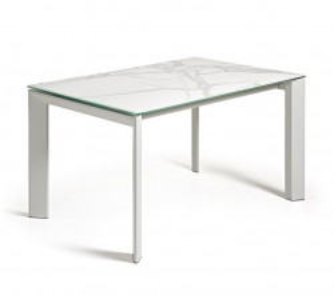 Masa dining extensibila dreptunghiulara alb din otel si portelan 90x(160)220 cm Atta Marble La Forma