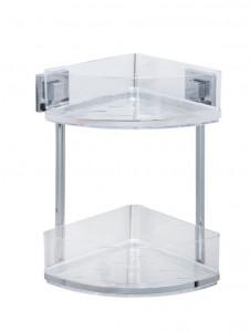Raft argintiu/transparent din inox si plastic 28x32,5 cm pentru baie Vacuum-Loc Corner Two Floors Quadro Wenko