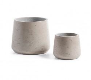Set 2 ghivece gri din ciment Lux Round La Forma