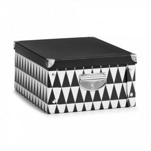 Cutie cu capac neagra/alba din carton Triangle Three Zeller