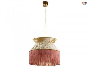 Lustra roz/aurie din catifea si PVC Cancan Santiago Pons