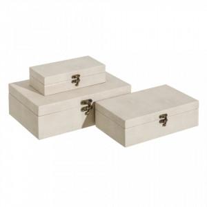 Set 3 cutii cu capac crem din MDF si piele ecologica Simil Flat Ixia